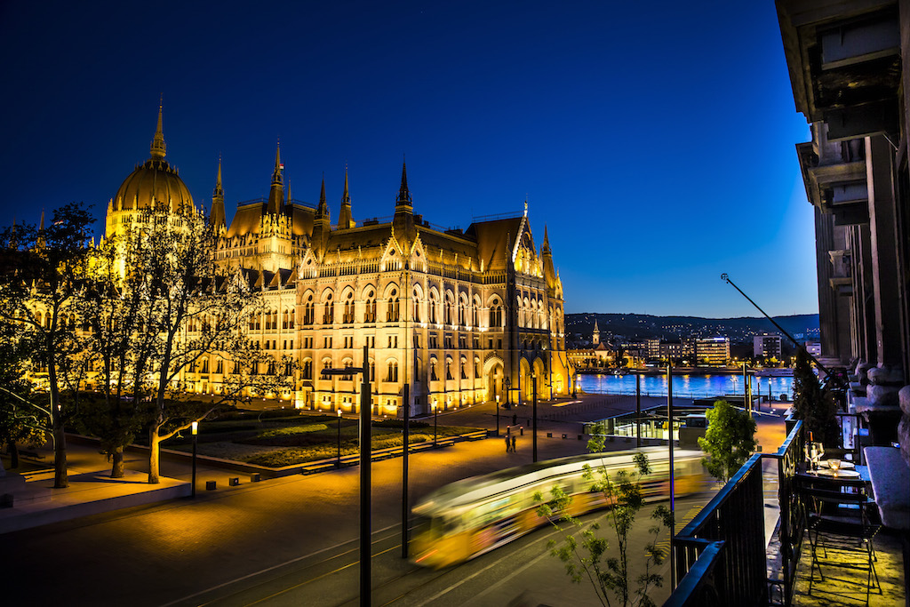 The iconic Parliament Building in Budapest at night
