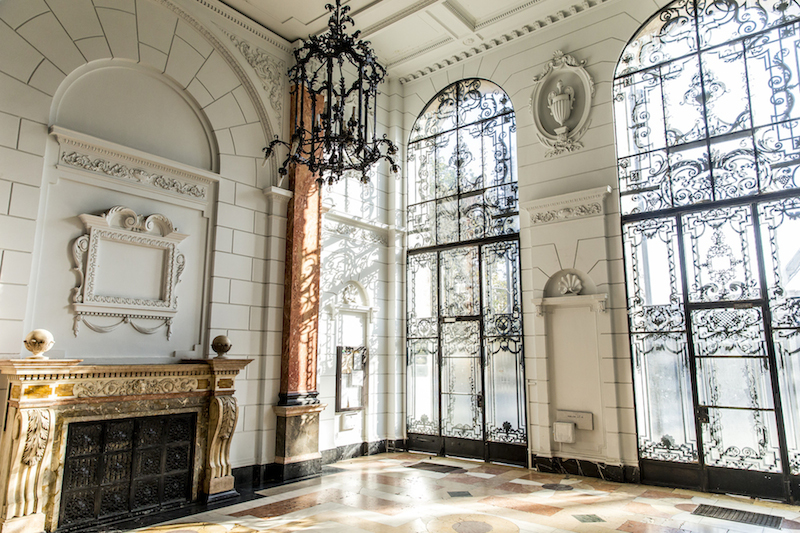 Gorgeous entry hall of the building in Budapest